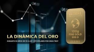 La dinámica del oro durante 50 años: de 37 a los 1.570 dólares por onza troy.